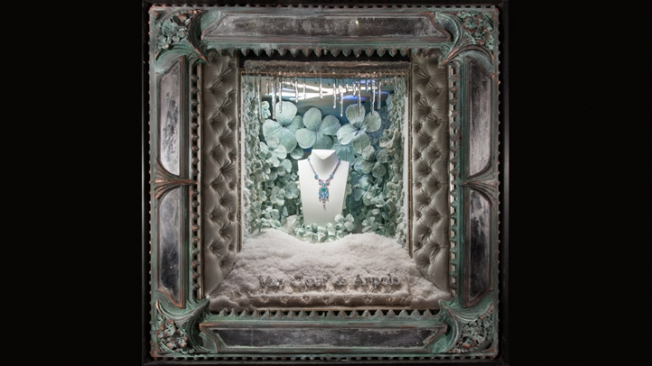 Van Cleef & Arpels jewelery - Holiday windows props and decoration by Douglas Little