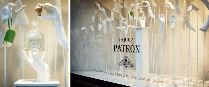 Patron tequila bespoke widows display by harlequin design