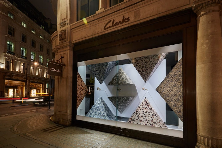 Clarks shop window display on Regent Street by Clarks Design Team & Harlequin Design