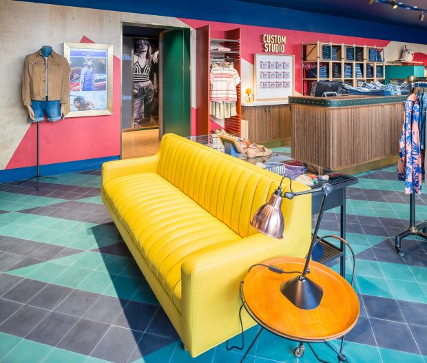 Pepe Jeans new colorful store concept by by Martin Brudnizki